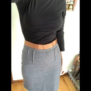 Grey wool pencil skirt with brown ribbed waistband